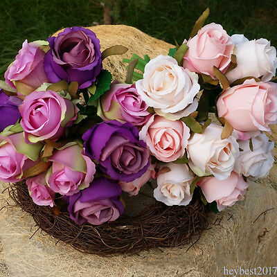 12 Head Artificial Rose Silk Flowers Bridal Hydrangea Wedding Party Home Decor
