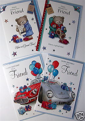 LESS 40% !! FRIEND BIRTHDAY CARDS 4 X 6, JUST 15p, EMBOSSED, WRAPPED (B228