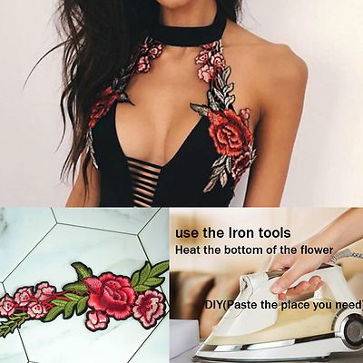 Fashion Collar Tips DIY Flower Embroidery Floral Necklace Women Cloth Iron Tips