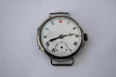 Antique 1916 Silver Dreadnought Swiss  Watch  George Stockwell Case Ww1