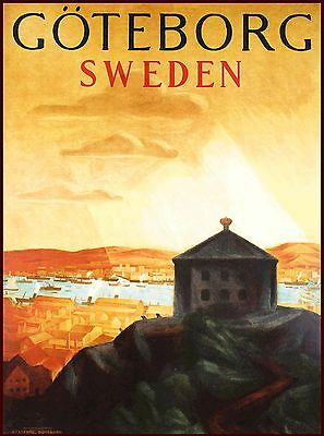 Gothenburg Sweden Swedish Scandinavia Vintage Travel Poster Art Advertisement
