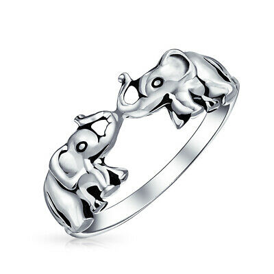Bling Jewelry Antique Style Lucky Double Elephants Animal Sterling Silver Ring
