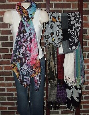 Women's Fashion Scarves Lot of 11 Long Scarves including 1 100% Cashmere Scarf