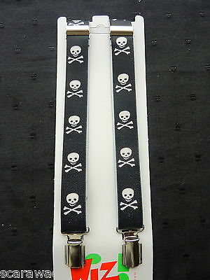 BRACES for BOYS/GIRLS/CHILDREN -BLACK SKULL &  CROSSBONES fit approx 1-6 yrs.
