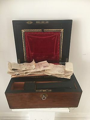BEAUTIFUL VICTORIAN ANTIQUE WRITING SLOPE key/secret drawers & paperwork