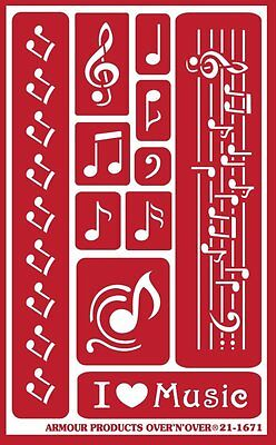Armour Reusable Over n Over Glass Etching Stencil - Musical Notes