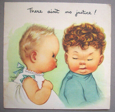 There aint no Justice Charlot Byj birthday vintage greeting card *F2