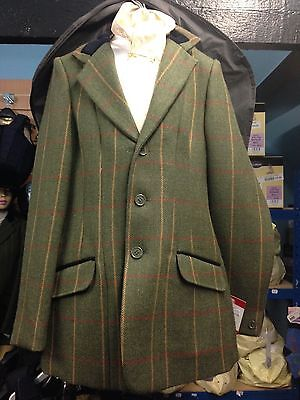 """Bridleway Wool Child's Tweed Show Hacking Jacket - Green Check - Size 28"""", New"""