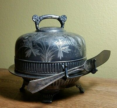 "Victorian Silverplate Domed Butter Dish by Pairpoint Floral Design 6"" Diameter"