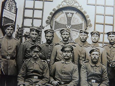 German Soldiers in front of a Large Iron Cross-Super Original WW1 Photograph
