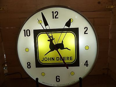 Restored John Deere Lighted Pam Advertsing Clock Sign Tractors Farming