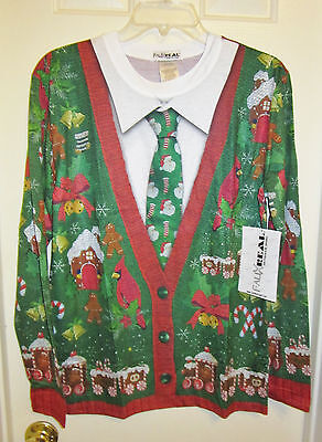 New Faux Real Men's Ugly Cardigan with Tie,Multi,Size Small,Long Sleeve T-Shirt