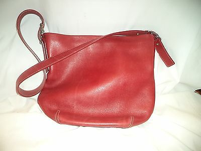 "Ladies Red Leather ""coach"" Purse Shoulder/tote"