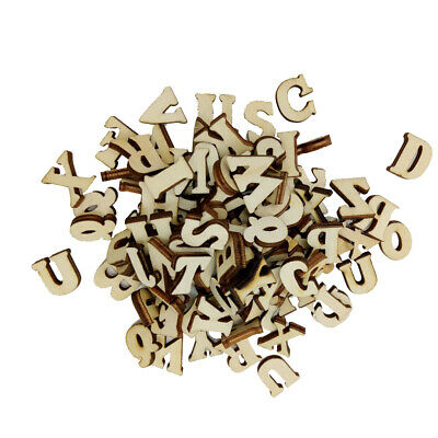 100 Pieces Blank Wooden Shapes A to Z Alphabet Embellishments for Crafts
