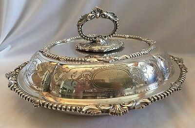 Antique Covered Ornate Silver Plate Oval  Entree Serving Dish 1850's Martin Hall