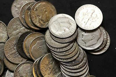 Roll of 50 Circulated Silver Roosevelt Dimes  (1556)