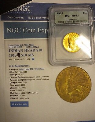 1913 $10 Gold Indian Head Eagle NGC MS62