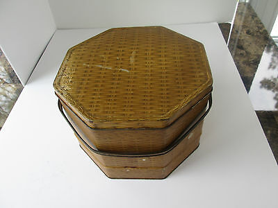 Vintage Loose-Wiles Sunshine Biscuit Co. Hexagonal Tin w Handle Wicker Motif  87