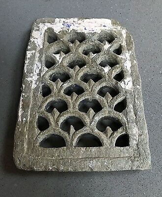 Antique, Vintage Indian. Small Stone Jali Pierced Screen. Mughal Geometric..