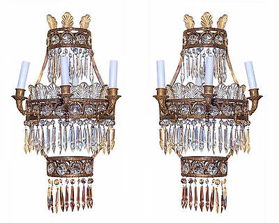 Pair Antique Neoclassical Bronze and Cascading Crystal Sconces