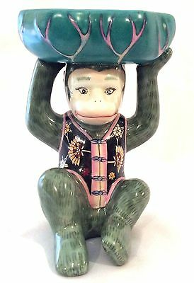 Adorable Chinese Porcelain Monkey Wearing Vest Perfect for Soap or Candy