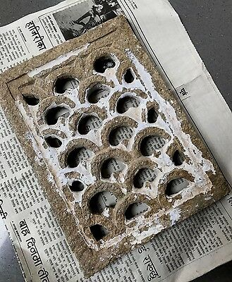 Antique, Vintage Indian. Small Heavy Stone Jali Pierced Screen. Mughal Geometric