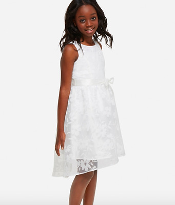 NWT Justice Girls size 20 white floral overlay formal party dress wedding