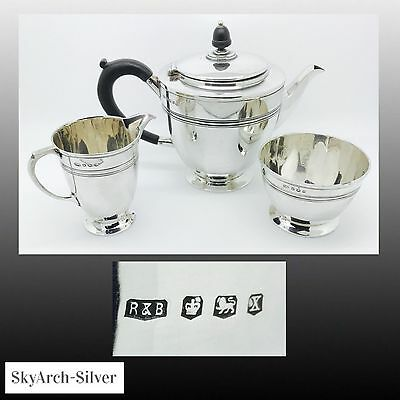 SOLID SILVER Teapot Set 3 PIECE Art Deco SHEFFIELD 1940 Roberts & Belk 767g