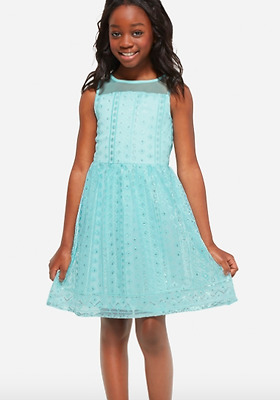 NWT Justice Girls size 20 blue sequins party dance wedding dress summer