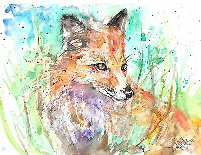 MEart contemporary original art watercolour signed painting fox picture size a4
