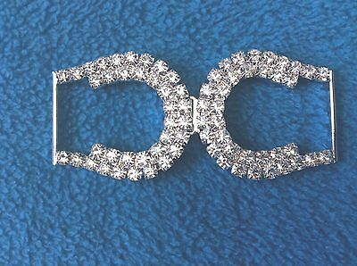 BK108 Two-piece Crystal Rhinestone Buckle/Clasp in silver-tone metal