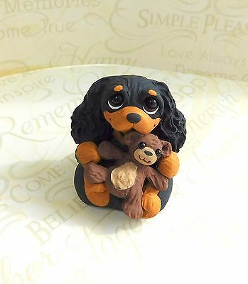Cavalier King Charles Spaniel with Teddy Bear Sculpture Clay by Raquel at theWRC