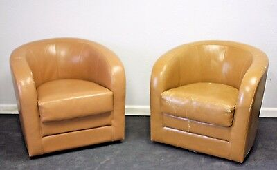 Pair of Swivel Barrel Chairs Mid Century Modern Style