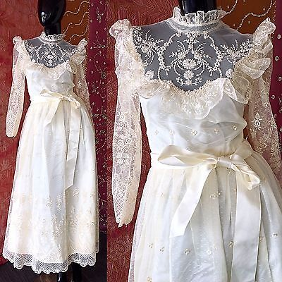 Vintage 70s Wedding Dress Boho Lace Beaded Embroidered Wedding Gown
