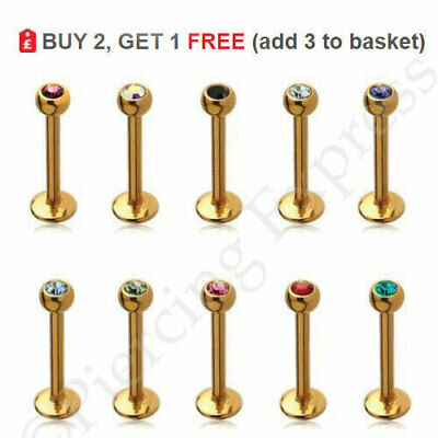 GOLD Labret Bar Monroe Piercing Lip Stud Tragus All Colours Sizes CRYSTAL Ball