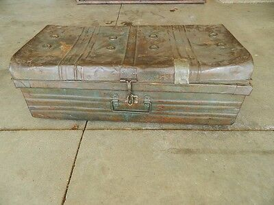 Old Vintage Metal Steel Travel Suitcase Trunk Chest Steampunk Strongbox Military