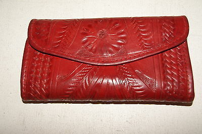 Vintage Red Leather Hand-Tooled Tri-Fold Wallet  Mexico