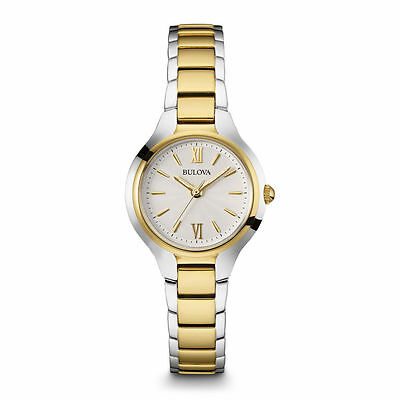 Bulova Womens 98L217 Silver & Gold Watch with Quartz Movement & Water Resistant