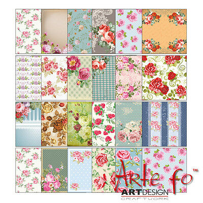 "18 Sheets Roses US HQ Design Paper Crafting Cards Scrapbooking 6x6"" Craft #pro"