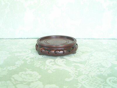 "ORIENTAL WOODEN VASE/LAMP/BOWL STAND - 4"" (10.1 CM.)  DIA. -  BROWN  -  repaired"