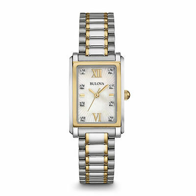 Bulova Womens 98P144 Silver Analog Display Quartz Two-Tone Wristwatch