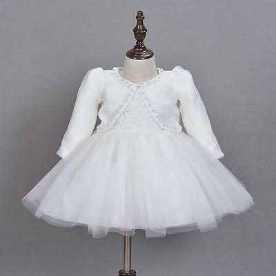 Winter Ivory Baby Christening Gown Bow Baptism Lace Dress with Beaded Coat 3-24M