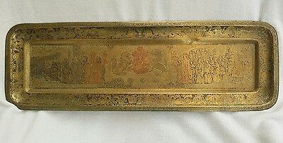 Large 19th century oriental Buddhist ceremonial engraved brass tray/ Plate