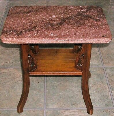 Antique Art Nouveau Walnut Red Marble End Side Table Curved Carved Scroll Legs