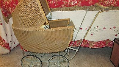 Antique Vintage Wicker Victorian Doll  Stroller Buggy with Mattress and Pillow