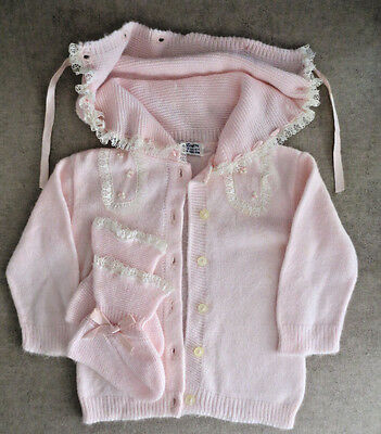 Sweet Soft Orlon Pink Sweater w/Hood & Booties 1950s Infant Child Toddler Girls