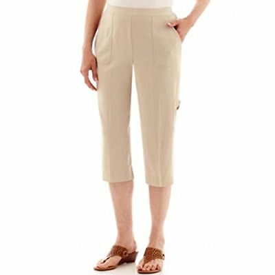 New Alfred Dunner Women Elastic Waist Stretch Beige Pull-On Capri Cropped Pant 8