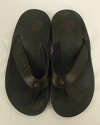 Olukai Black Sandals Flip Flops Men's Shoes called OHANA size US 9