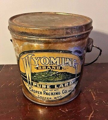 Wyoming Brand Pure Lard Casper Packing Co 1920s Vtg 1930s Tin Litho Advertising