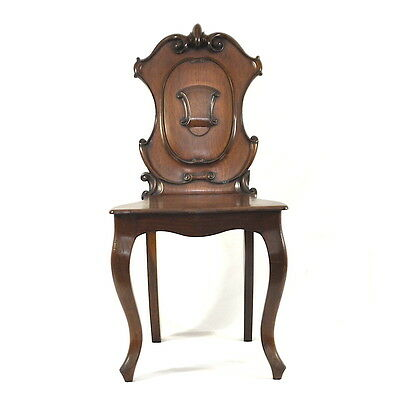 Stunning Victorian Mahogany Grande Hall Chair Scrolled Back